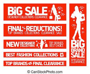 mode, vente, nouveau, bannières, habillement, collections.