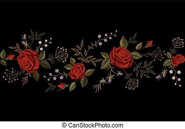 mode, versiering, satijn, imitatie, viooltje, grens, weinig; niet zo(veel), bloem, steek, roos, ornament, textuur, achtergrond., black , borduurwerk, rood, ouderwetse , illustratie, keukenkruiden, delicaat, knop, vector, necklace., kleine