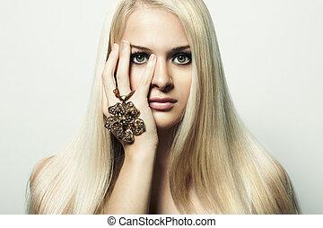 mode, verticaal, van, de, blonde, vrouw