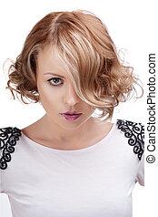 mode, verticaal, van, een, mooi, blonde, vrouw, met, rood, lips.