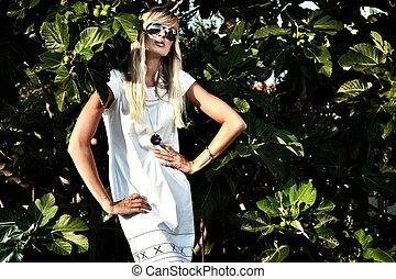 mode, verticaal, van, een, sexy, blonde