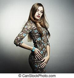 mode, verticaal, van, jonge, mooie vrouw