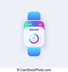 mode, volume, intelligent, montre, ajustements, display., jour, screen., vecteur, app, smartwatch, paramètres, application., design., son, orateur, plat, mobile, parameter, template., contrôle, musique, ui, interface