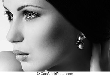 mode, vrouw, met, juwelen