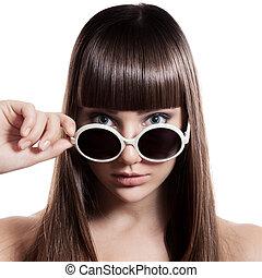 mode, vrouw, met, sunglasses., vrijstaand