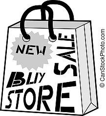 mode, winkel, zak