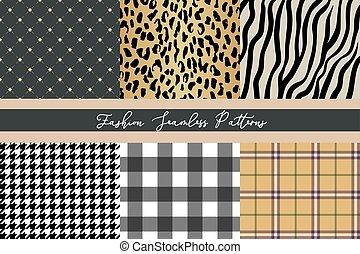mode, zebra, collection, vichy, seamless, branché, ensemble, léopard, motifs, diamant, plaid, houndstooth