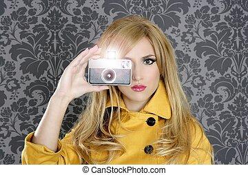 modefotograf, retro, fotoapperat, reporter, frau
