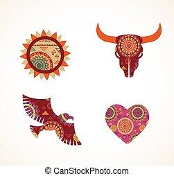 modelé, éléments, icônes, tribal, collection, bohémien, objets