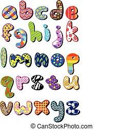 modelé, cas, inférieur, alphabet