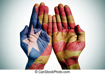 modelé, catalan, drapeau, mains, pro-independence, homme