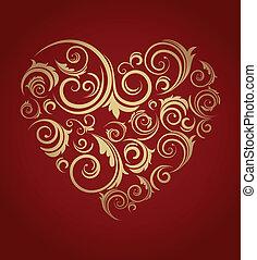modelé, coeur, retro, rouges