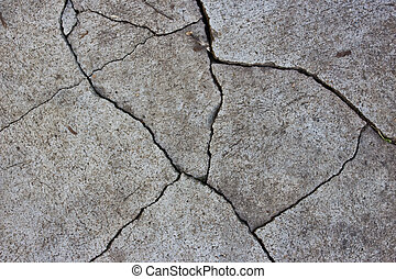 modelé, concrete., fissure