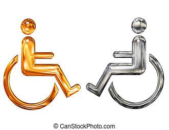 modelé, doré, handicap, symbole, invalide, argent, fauteuil roulant, icône