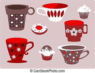 modelé, ensemble café, thé, tasses, ou