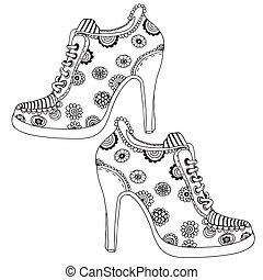 modelé, fleur, chaussures