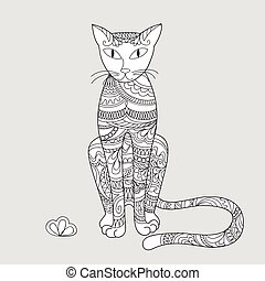 modelé, fleur, zen, chat