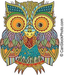 modelé, hibou, illustration., zentangle, vecteur, orné,...