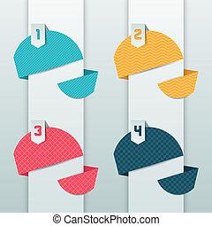 modelé, numéroté, fond, origami, banners.