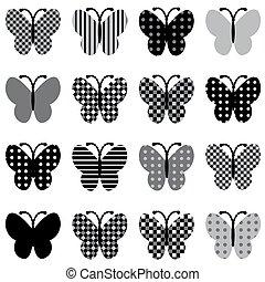modelé, papillons, ensemble