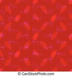 modelé, rose, modèle, feuilles, nuances, seamless, illustration, florals., complexe, corail, impression, red.