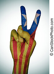 modelé, signe, catalan, drapeau, v, pro-independence