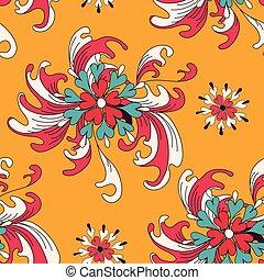 model, abstract, seamless, achtergrond, oranje bloemen