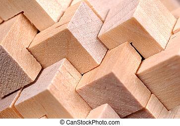 model, abstraktní, dřevo
