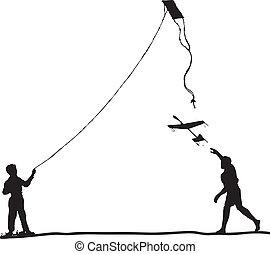 Children run the kite and model glider. Vector illustration.