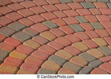model, baksteen, terras