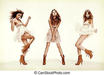 model, beeld, drievoudig, maniertjes, anders, mode