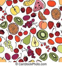 model, besjes, seamless, vruchten