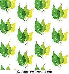 model, bladeren, behang, seamless, achtergrond., vector, groen wit