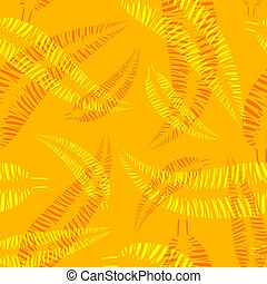 model, bladeren, gele, achtergrond., vector, palm, sinaasappel, rood