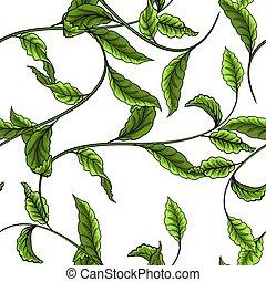 model, bladeren, seamless, achtergrond., groen wit