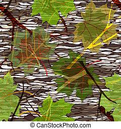 model, bladeren, seamless, camouflage, esdoorn