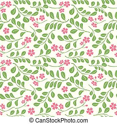 model, bladeren, -, seamless, groene achtergrond, witte bloemen, rood