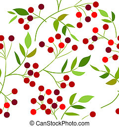 model, bladeren, seamless, groene, besjes, rood