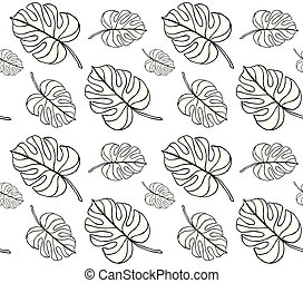 model, bladeren, seamless, monstera, vector, palm, achtergrond, witte