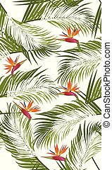 model, bladeren, seamless, palm, achtergrond, paradijs, witte vogel