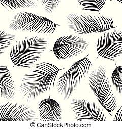 model, bladeren, seamless, palm, achtergrond, witte
