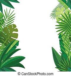 model, bladeren, seamless, tropische , palm, witte