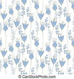 model, blauwe bloemen, seamless, floral, gemaakt