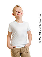 model boy in white t-shirt or tshirt isolated