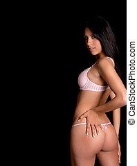 model, brunette, lingerie