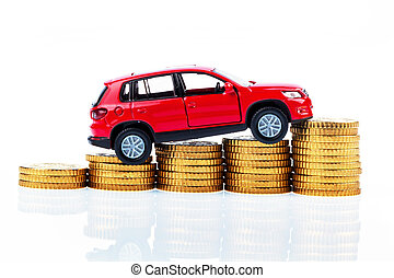 model car and coins. car costs