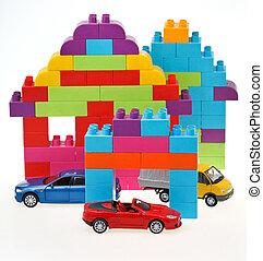 model car, plastic block house