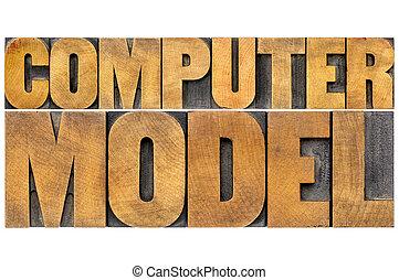 model, computer, typografie