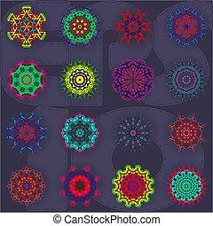 model, decoratief, ronde, cirkel, kant, achtergrond, set