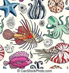 model, deepwater, seamless, organismen